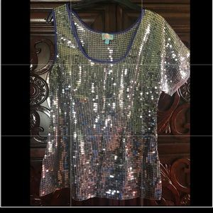 Plenty by Tracy Reese silver sequins top